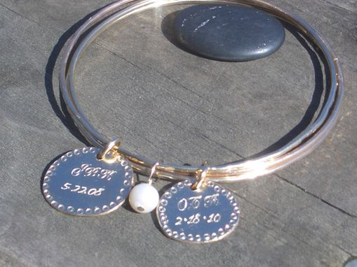 Custom Made Gold Bangles With Hand Stamped Charm