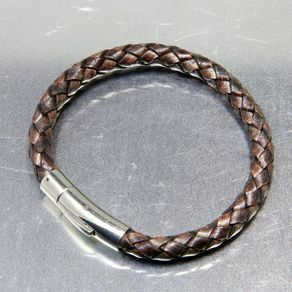 Custom Engraved Leather Bracelet With Personalized Stainless Steel Clasp By Nadina Giurgiu