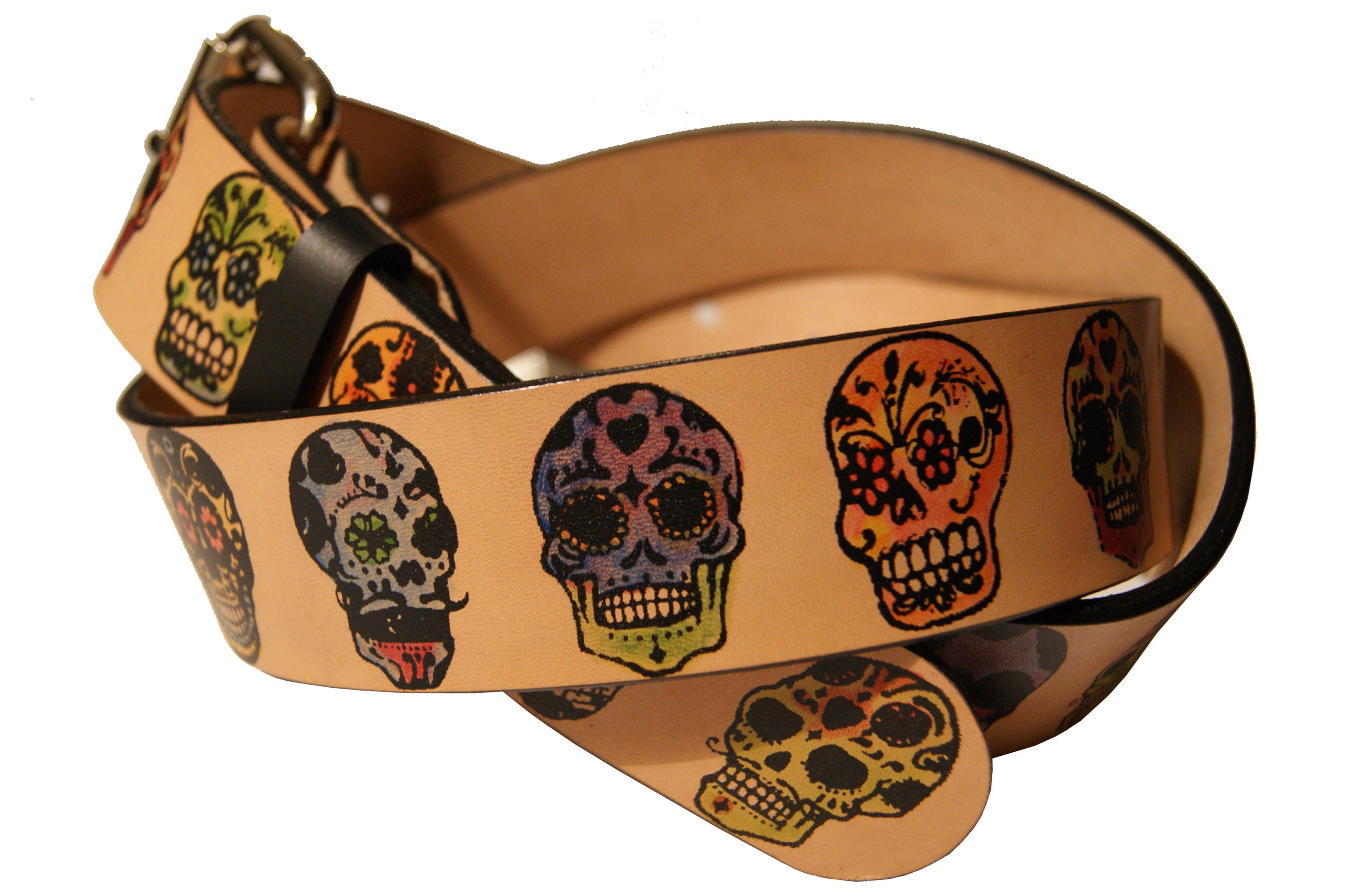 Custom Made Sugar Skulls Day Of The Dead Leather Belt
