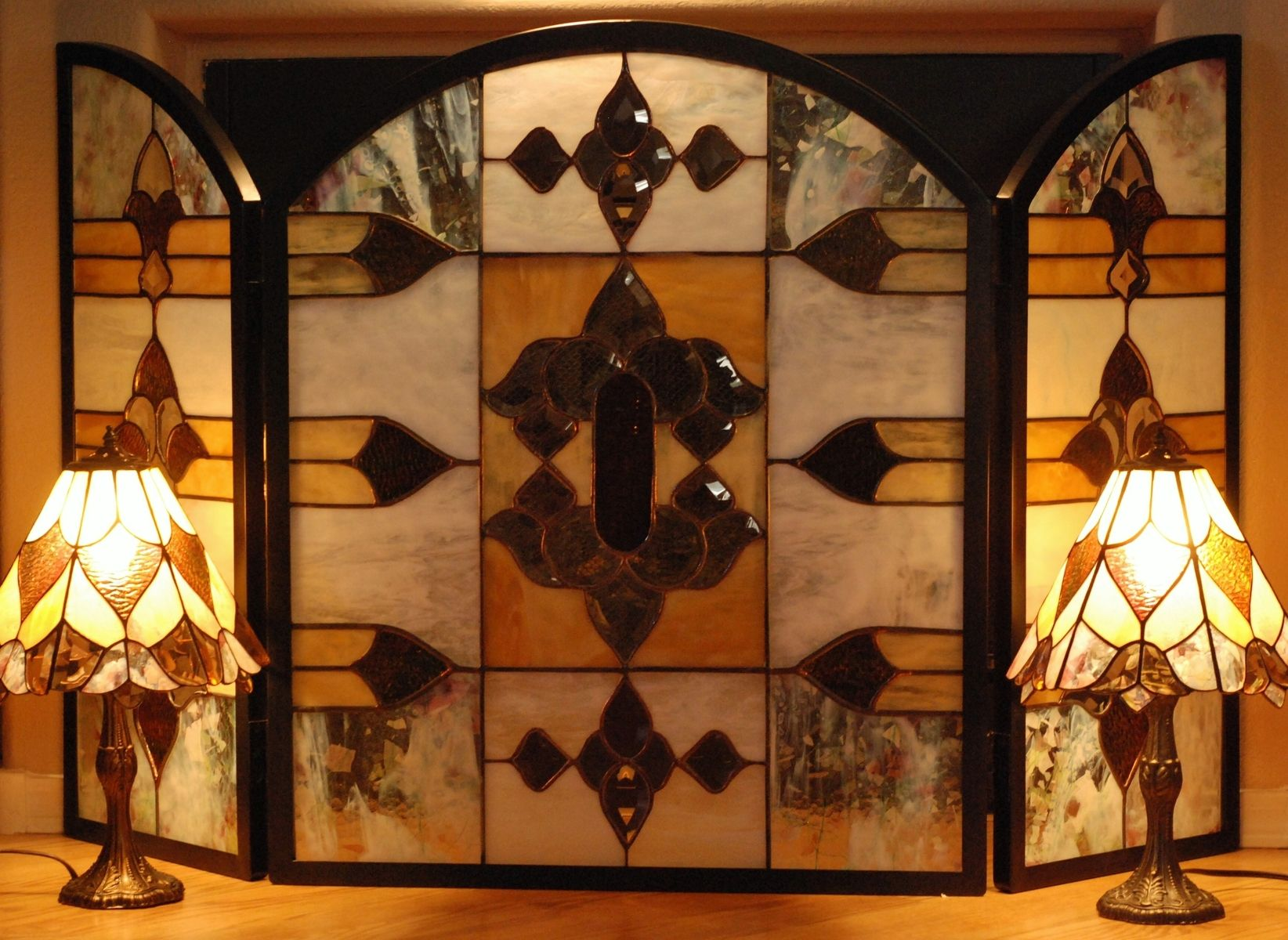 stained glass fireplace screen Buy a Custom Stained Glass Fire Screen With 2 Matching, made to  stained glass fireplace screen