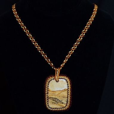 Custom Made Picture Jasper Beaded Pendant And Necklace