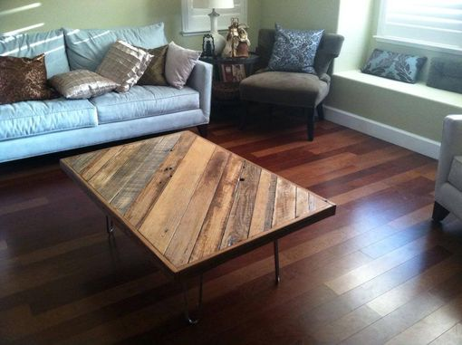 Custom Made Reclaimed Wood Farm Table Slant Board Pattern