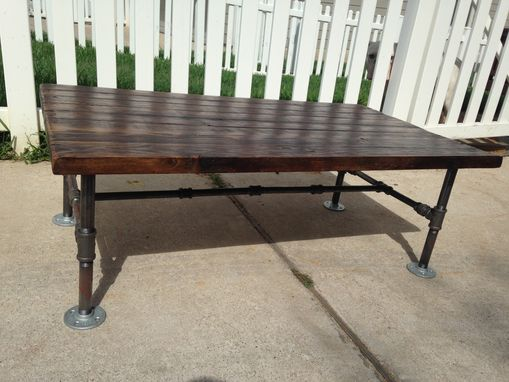 Custom Made Reclaimed Pine Tabel Top On Galvanized Pipe Frame Coffee Table