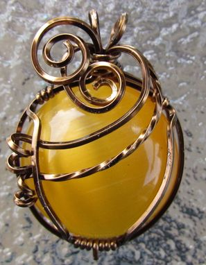 Custom Made Lemon Cat'seye Wrapped Pendant Necklace
