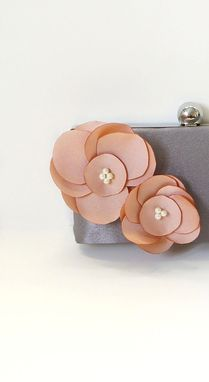 Custom Made Romantic Clutch Purse With Handmade Flower Adornment And Pearls- Blush
