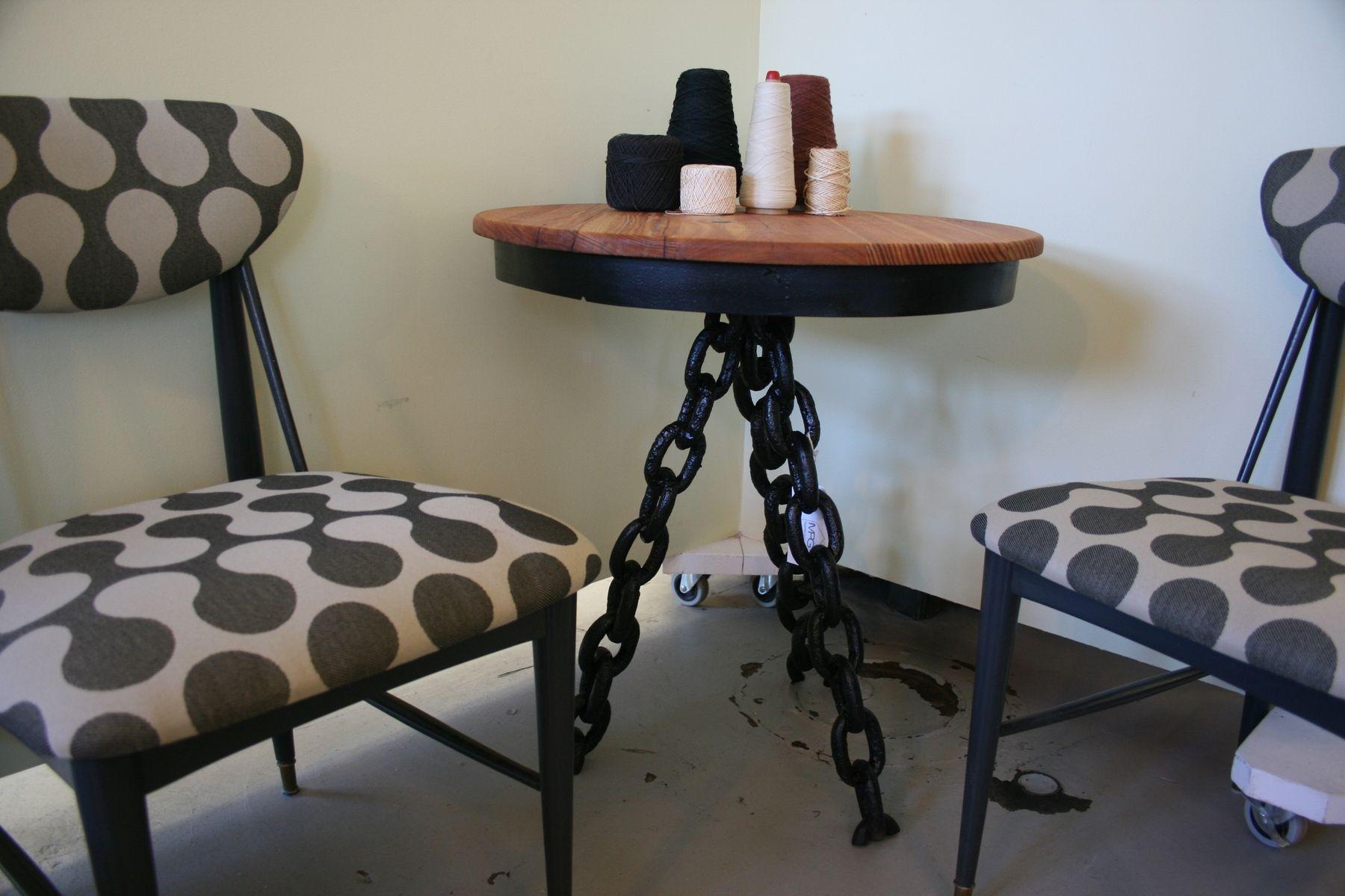 Handmade custom reclaimed wood side table with chain link