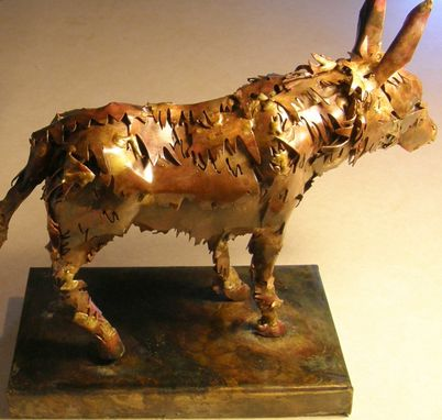 Custom Made Donkey Sculpture, Copper And Brass On Metal Base