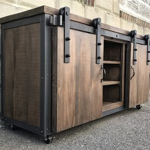 Rustic Barn Board Media Stand W Sliding Doors 55 By Jeremy Paradis