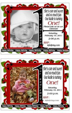 Custom Made 25 Ladybug Photo Birthday Invitations, Customized To Your Event