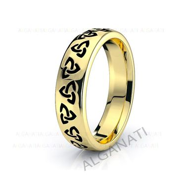 Custom Made 10k White And Yellow Gold - Platinum Trinity Celtic Wedding Band Rings Black Nano Plating