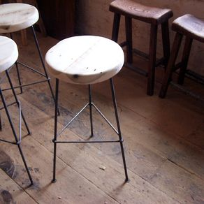 Bar Stools Made From Reclaimed Wood With Metal Legs