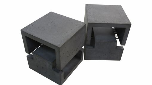 Custom Made Concrete Side Tables / End Tables - Pair Of Two