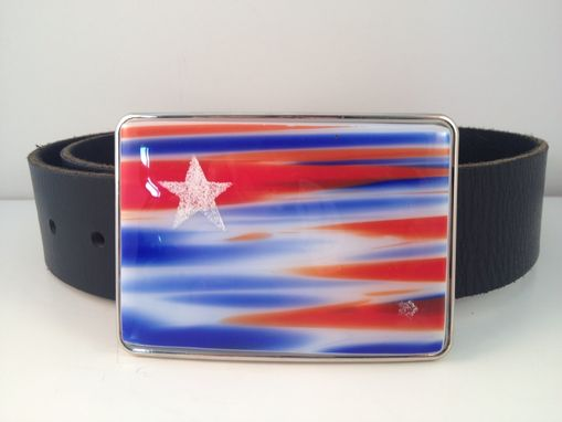 Custom Made Fused Glass Belt Buckle American Flag!