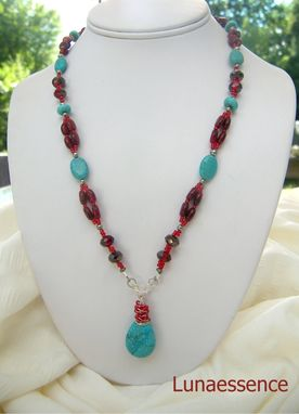 Custom Made Turquoise Red Merlot Beaded Pendant Necklace