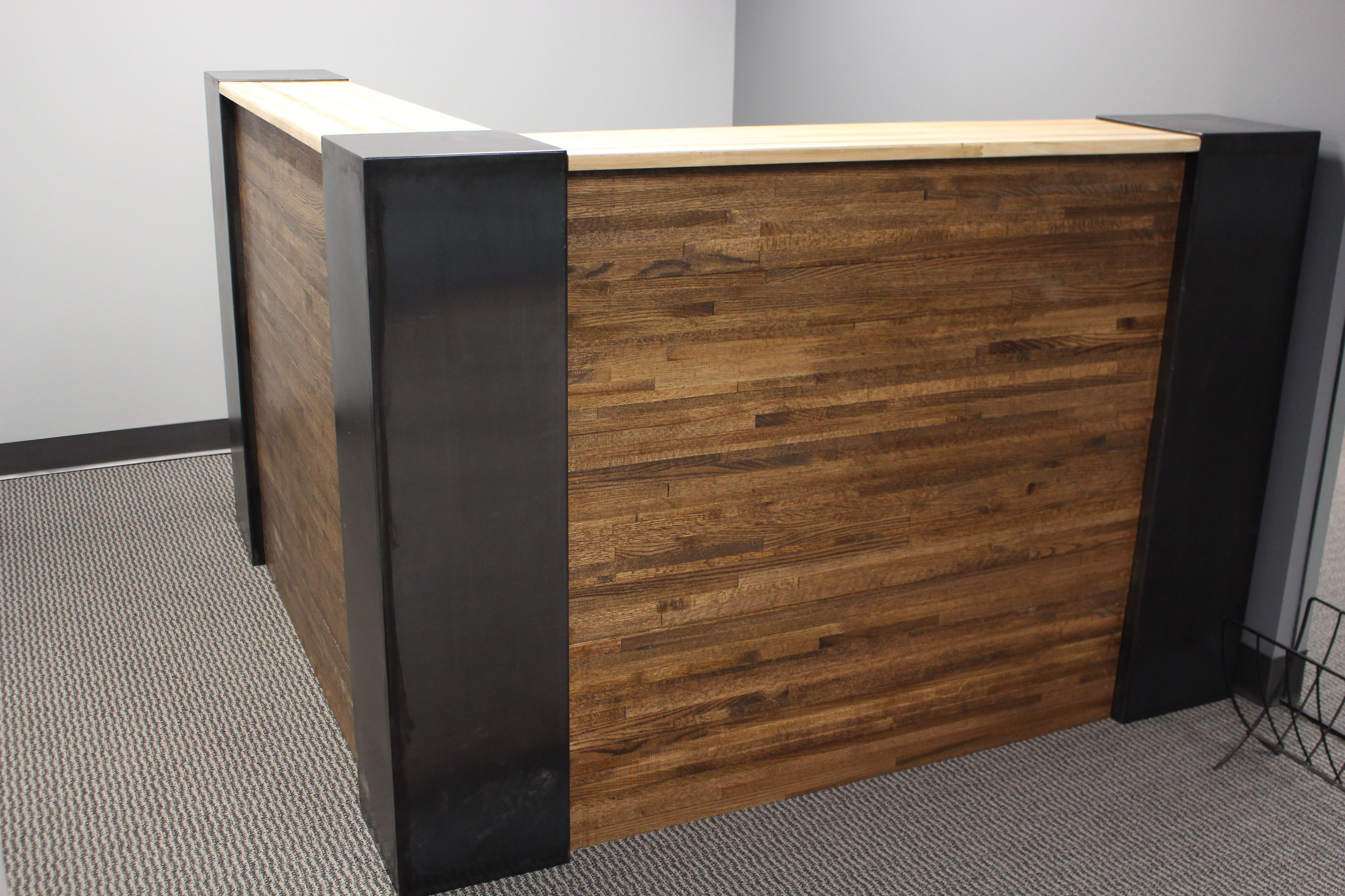 custom industrial steel and butcher block reception desk by defiance hardwood