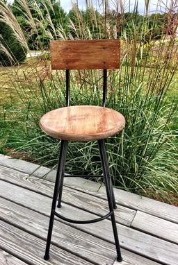 Custom Made Industrial Steel Stool With Distressed Wood