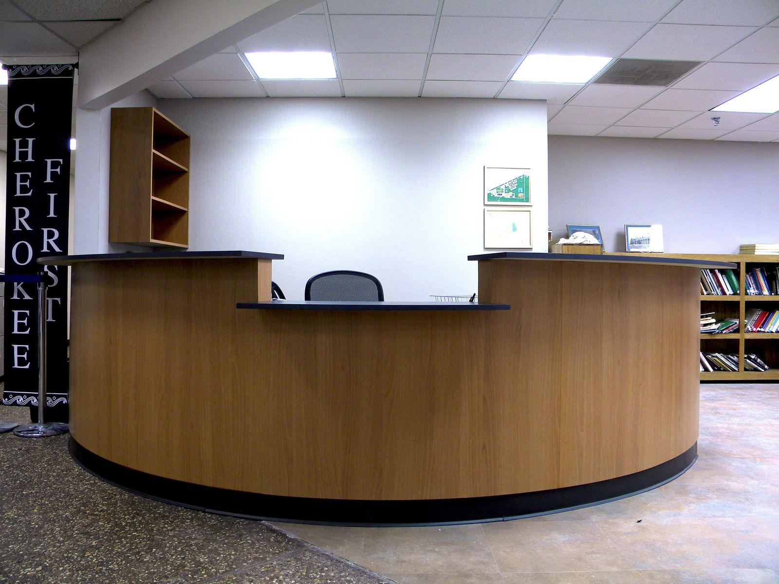 Custom Eliptical Reception Desk by Grayson Artistry In Wood ...