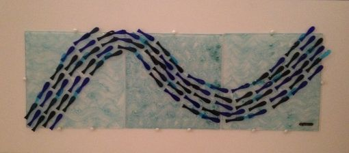 Custom Made Wall Decor Fused Glass Fish In The Sea (3 Tiles)