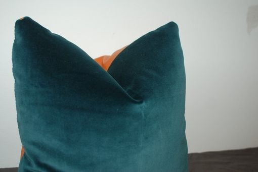 Custom Made Gem Blue Velvet Pillow Cover With Orange Recycled Leather Back