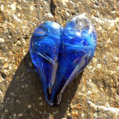 Custom Made Heart-Shaped Pendant In Clear And Blue Glass