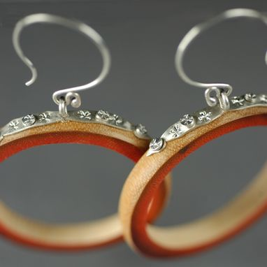 Custom Made Red Bamboo Hoop Earrings
