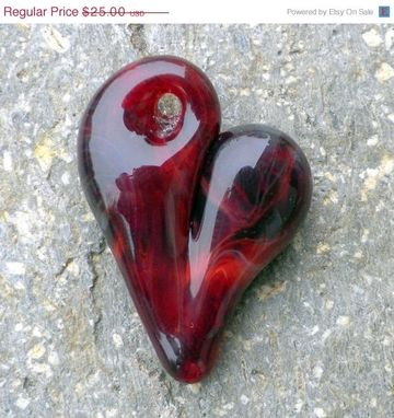 Custom Made Black And Red Hand-Blown Glass Heart Pendant