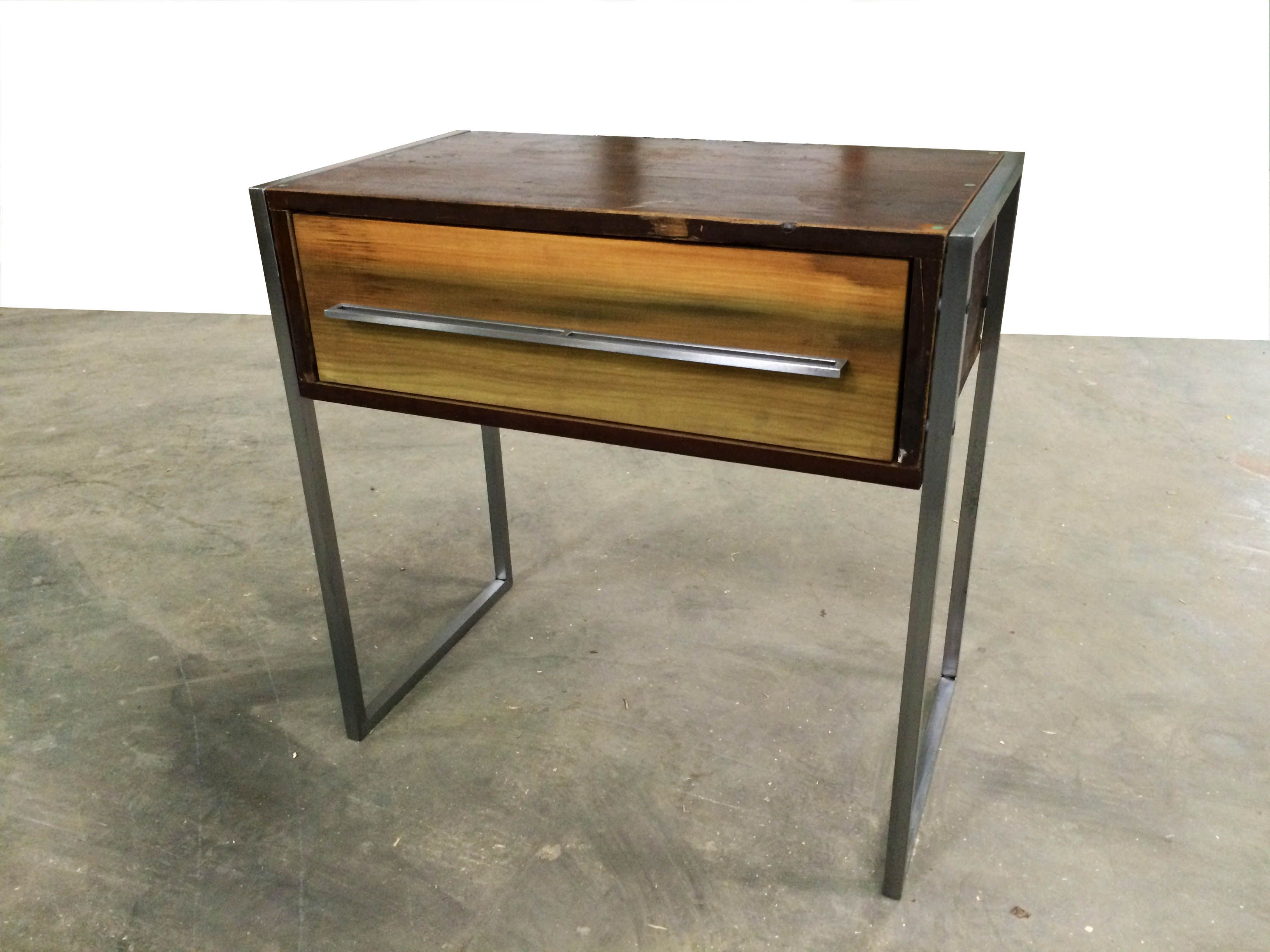 Handmade Reclaimed Wood And Steel Nightstand By Object A