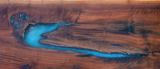 Custom Made Live Edge Walnut Epoxy Resin/Turquoise Inlay Dining Console