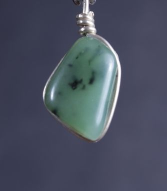 Custom Made Jade Pendant In Hammered Sterling Silver