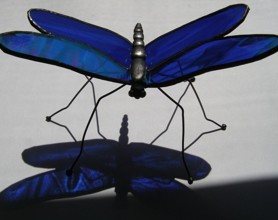 ec6bedd116ec Custom Made Stained Glass Dragonfly- Freestanding by Judi Cahill ...