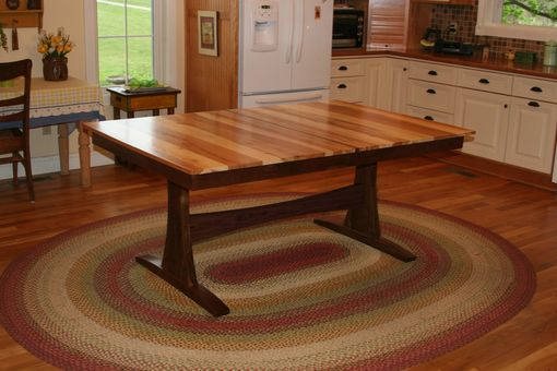 Custom Made Modern Farmhouse Table, Trestle Table, Solid Wood, Walnut