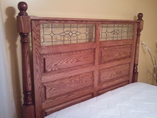 Custom Made Oak Panel Bed W/Stained Glass