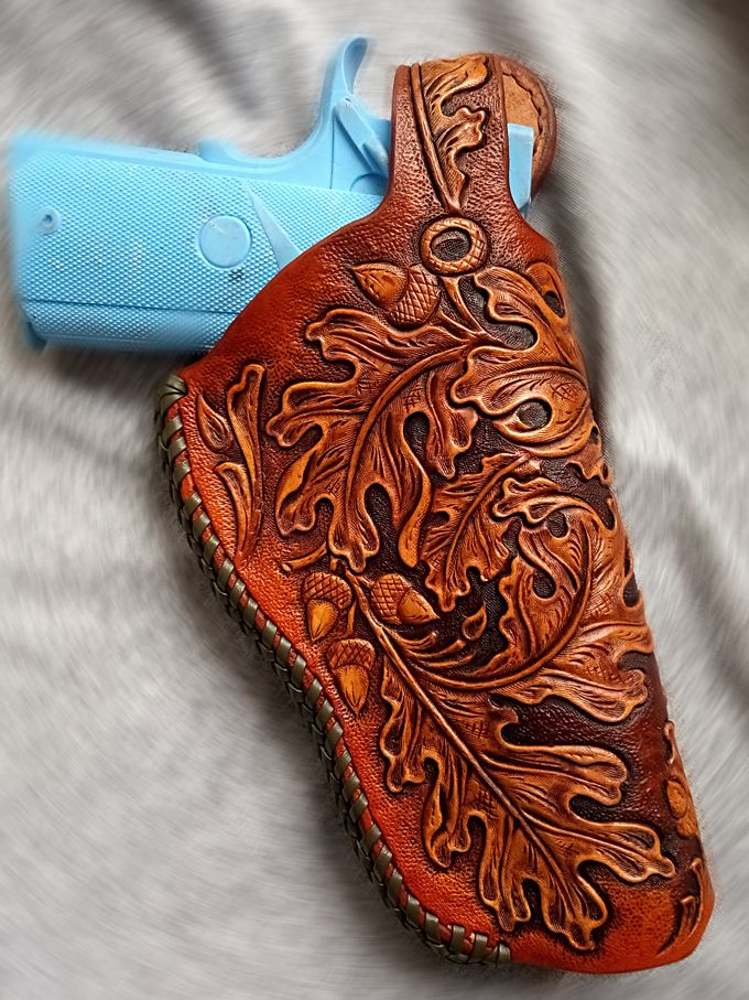 Buy Hand Crafted Tooled 1911 Holster Leather Thumb Break Oak