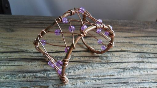 Custom Made Copper Wire Cuff Bracelet With Purple Crackled Beads
