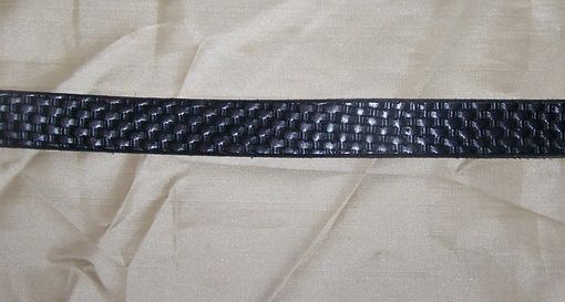 "Custom Made Hand Stamped Leather Belt. 1-1/4"" With Basketweave Design"