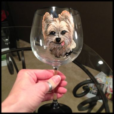 Custom Made Custom Dog Design. Red Wine Glass