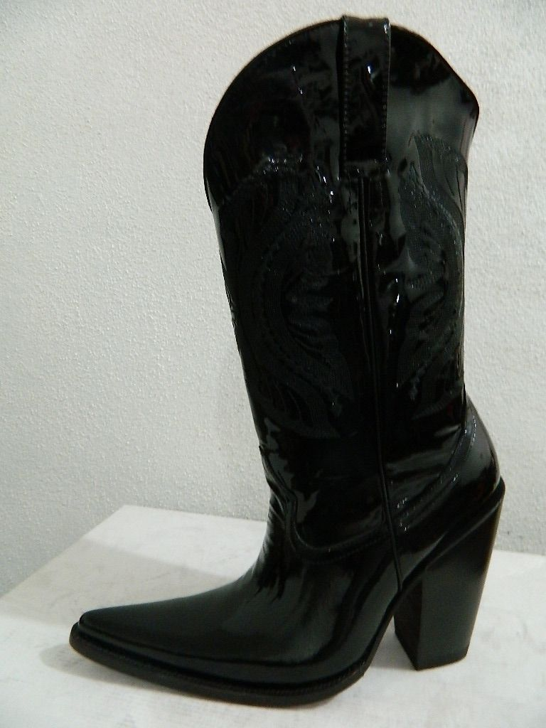 Custom Made Patent Leather Black Sharp Toe Cowboy Boots All Men ...