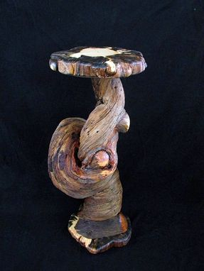 Custom Made Rustic Wood Accent Art Sculpture Display Table
