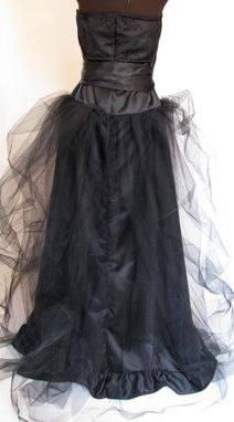 Custom Made Black Satin, Lace And Tulle Dress