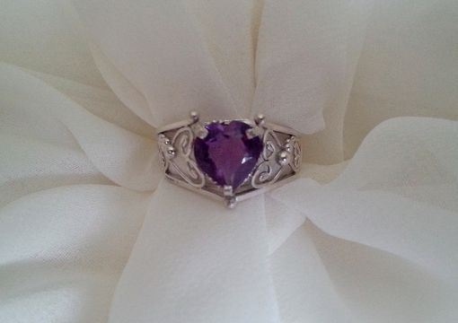 Custom Made Heart Shaped Amethyst Filigree Ring