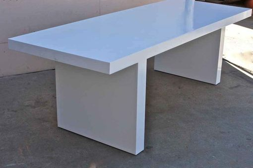 Custom Made White Lacquer Mid Century Modern Dining Table