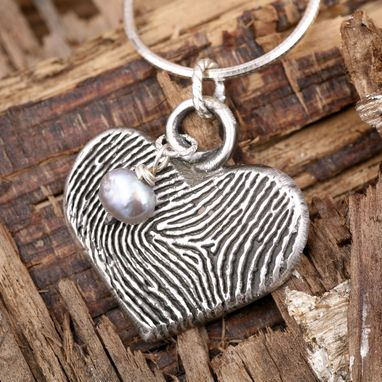 Custom Made Sterling Silver Heart And Pearl Pendant- One Of A Kind
