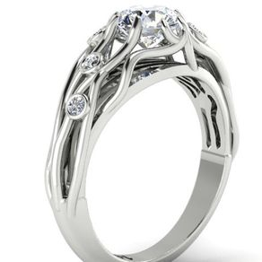 Forever One Moissanite Engagement Ring, Diamond Engagement Ring, Rustic  Wedding Ring