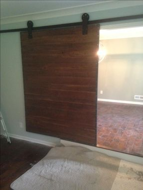 Custom Made Industrial Steel And Black Walnut Sliding Barn Door