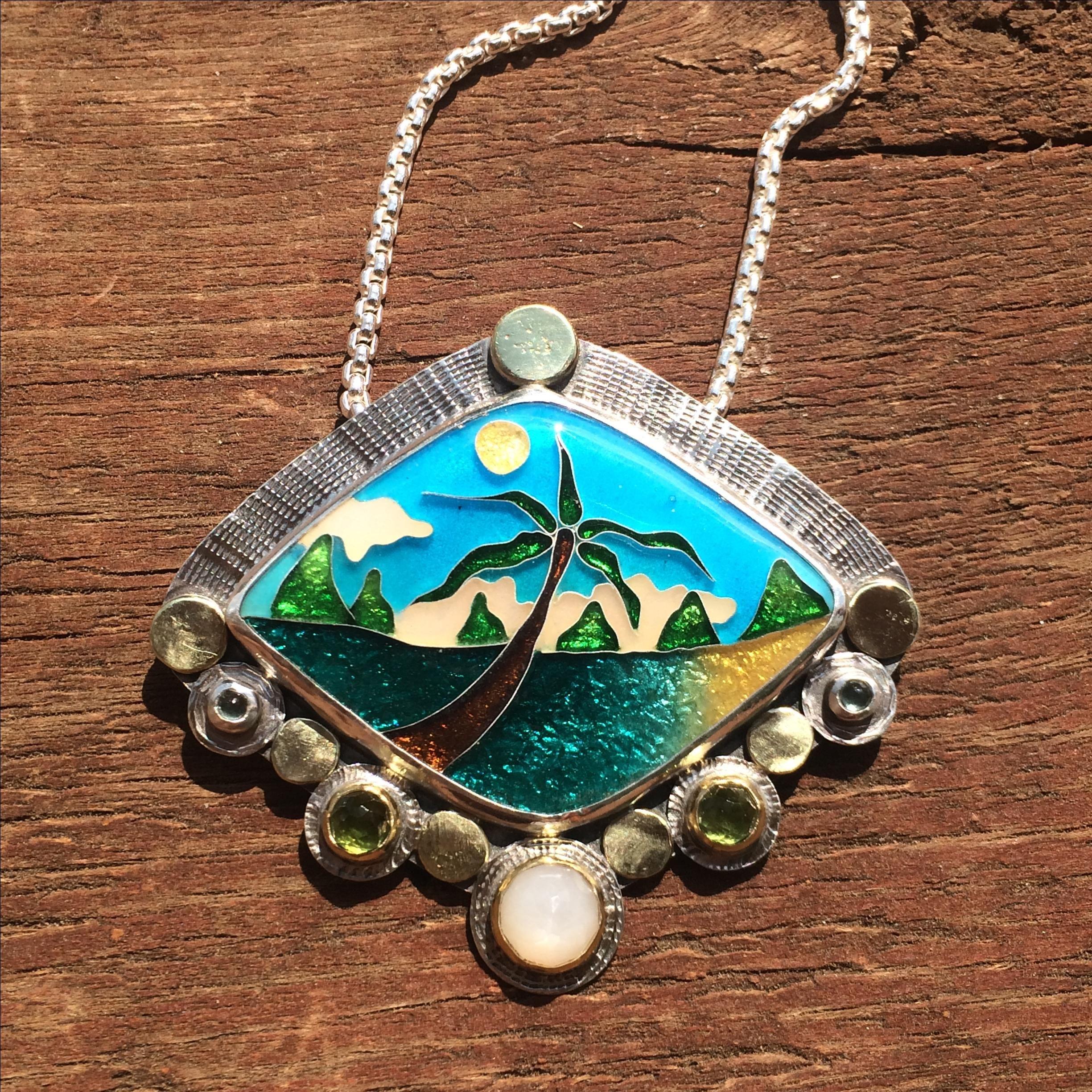 Custom Made Cloisonne Enamel Necklace Tropical Beach Scene Necklace