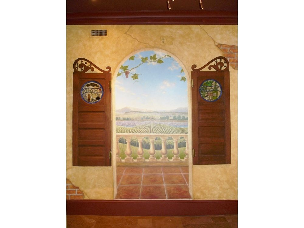 handmade chateau wine cellar trompe l 39 oeil mural with faux finish and 3d items by visionary. Black Bedroom Furniture Sets. Home Design Ideas