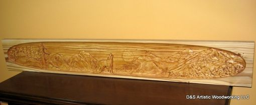 Custom Made Carved Fireplace Mantel Insert With Wolf