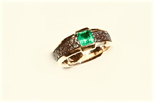 Custom Made Emerald Cut Emerald Ladies Ring, 18kt Red Gold, Size 7 1/4