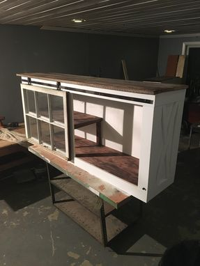 Custom Made Reclaimed Wood Top Sliding Door Console Table