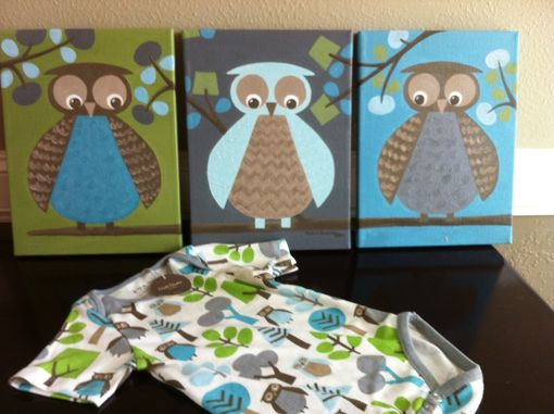 Custom Made Custom Nursery Artwork - Dwell Studio Owls